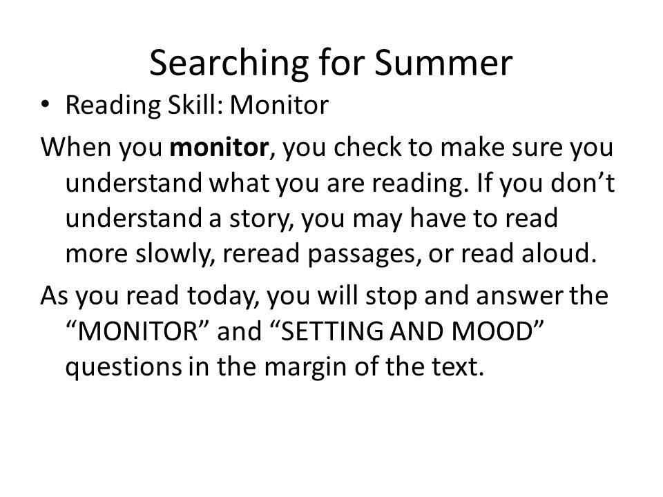 Searching for Summer Reading Skill: Monitor