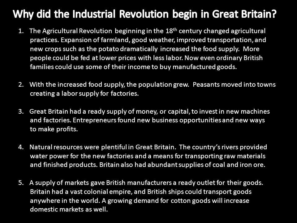essay on why the industrial revolution began in england