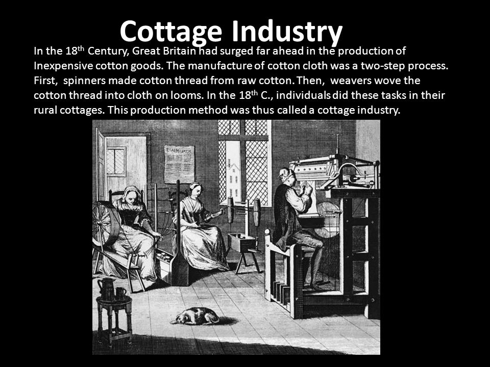 Cottage Industry In the 18th Century, Great Britain had surged far ahead in the production of.