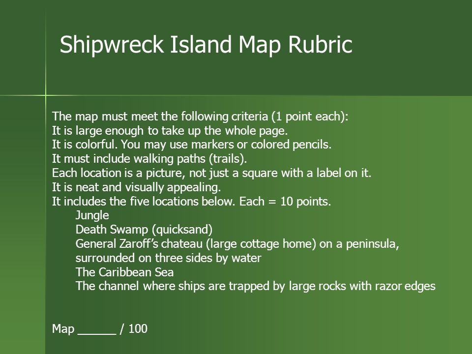 Shipwreck Island Map Rubric