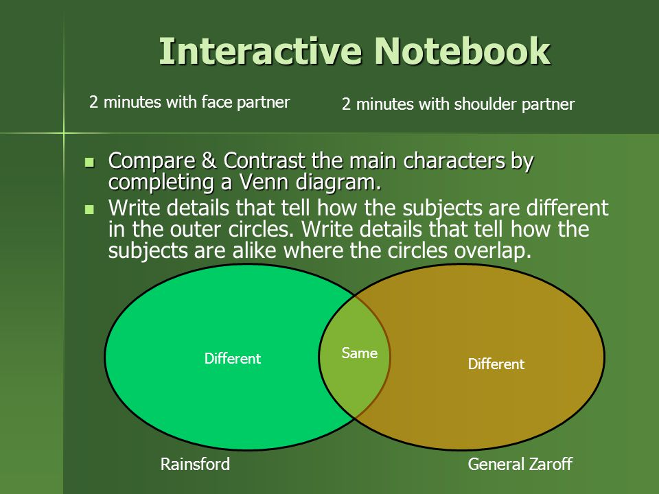 Interactive Notebook 2 minutes with face partner. 2 minutes with shoulder partner.