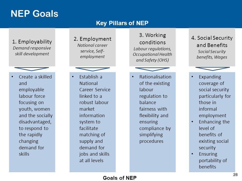 NEP Goals Key Pillars of NEP 3. Working conditions 2. Employment