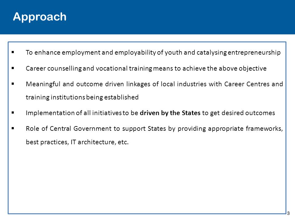 Approach To enhance employment and employability of youth and catalysing entrepreneurship.