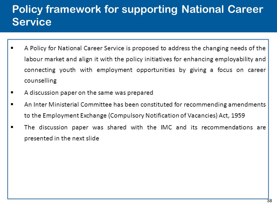 Policy framework for supporting National Career Service