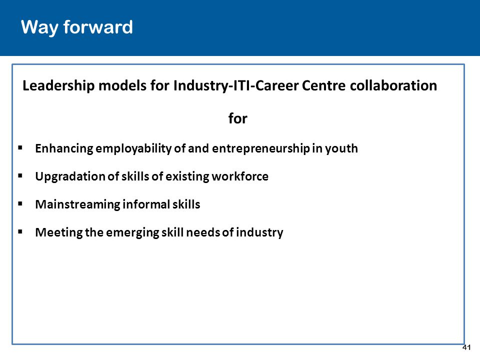 Way forward Leadership models for Industry-ITI-Career Centre collaboration. for. Enhancing employability of and entrepreneurship in youth.