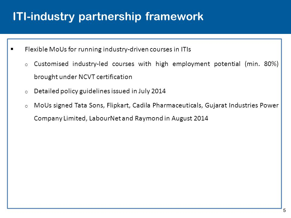 ITI-industry partnership framework