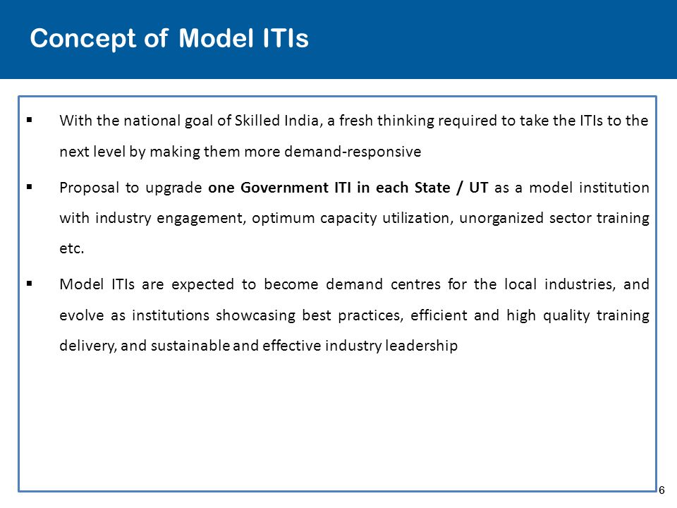 Concept of Model ITIs