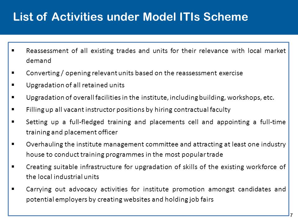 List of Activities under Model ITIs Scheme