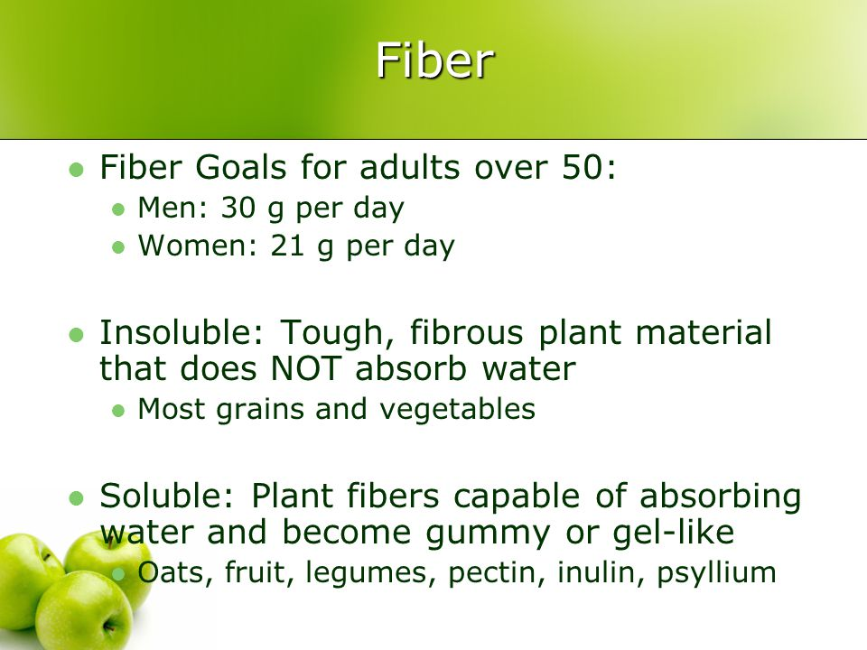 Fiber Fiber Goals for adults over 50: