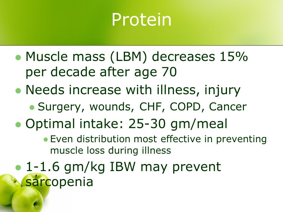 Protein Muscle mass (LBM) decreases 15% per decade after age 70