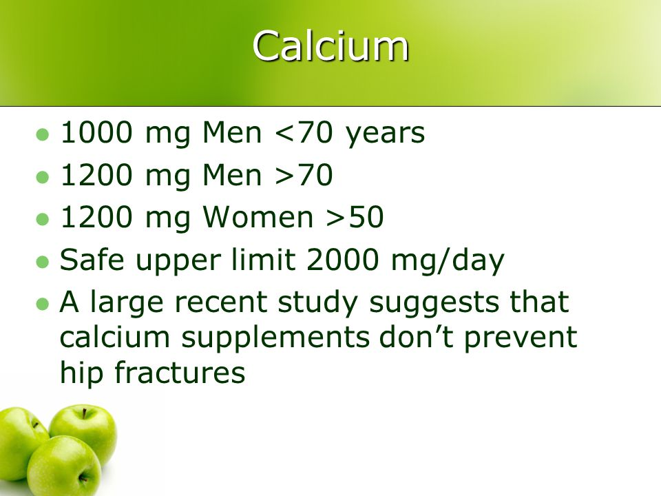 Calcium 1000 mg Men <70 years 1200 mg Men >70