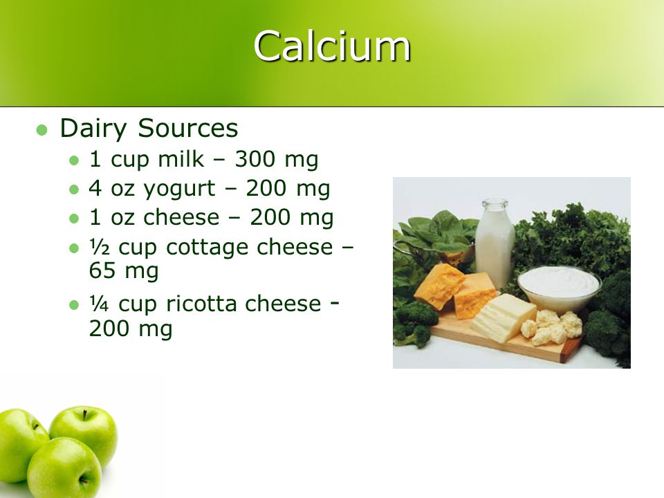 Calcium Dairy Sources 1 cup milk – 300 mg 4 oz yogurt – 200 mg