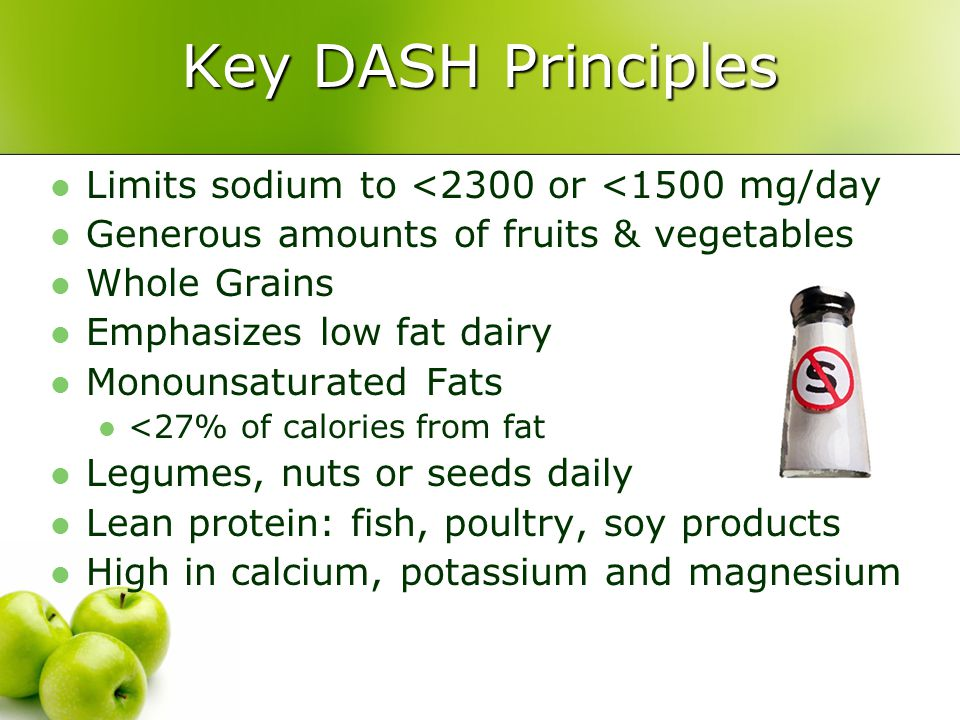 Key DASH Principles Limits sodium to <2300 or <1500 mg/day