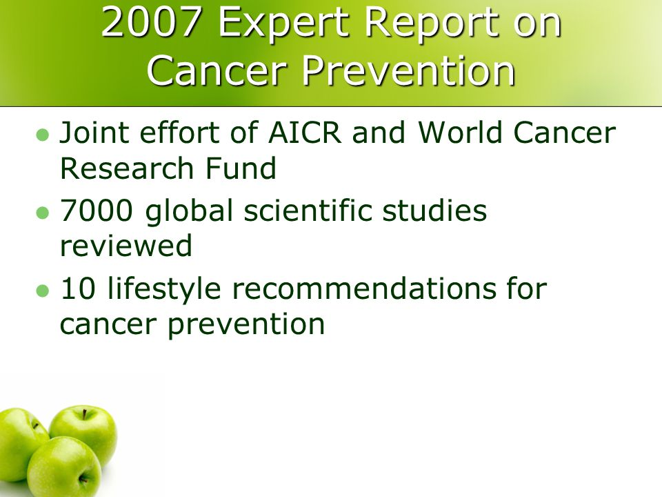 2007 Expert Report on Cancer Prevention