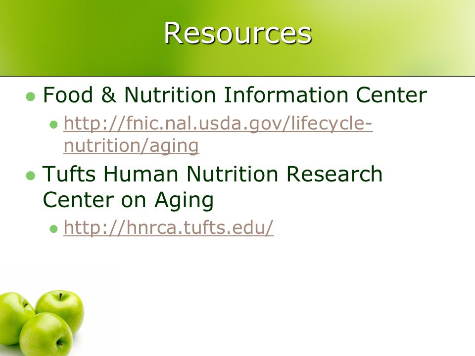 Resources Food & Nutrition Information Center