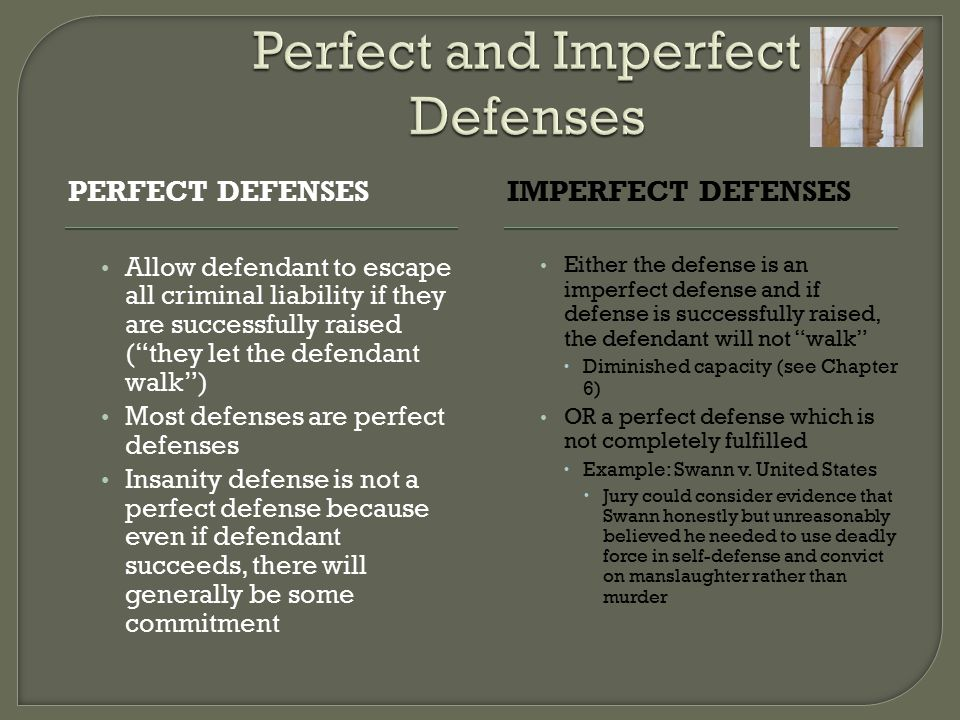 Perfect and Imperfect Defenses