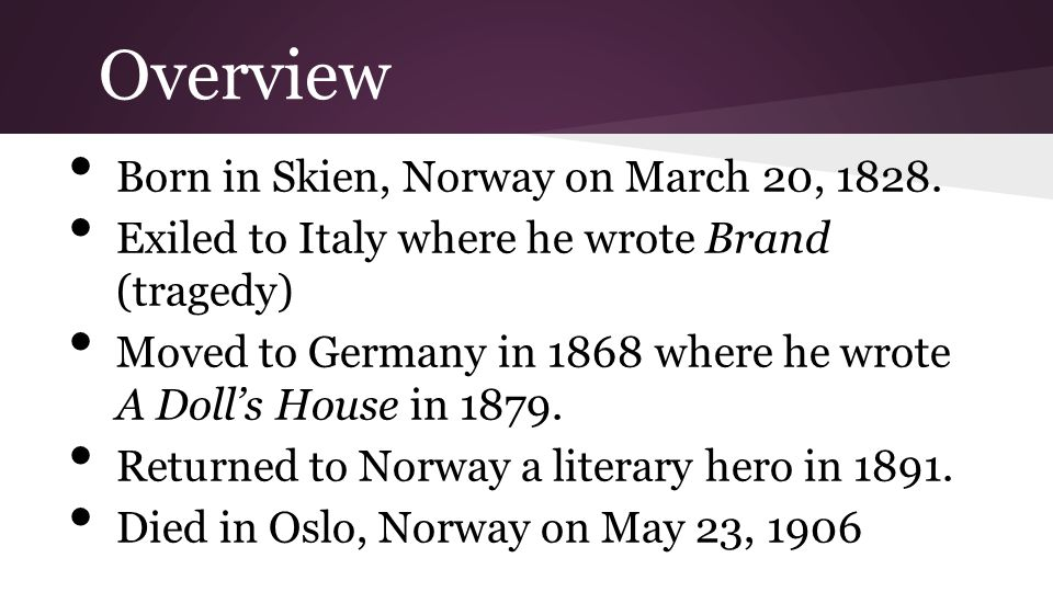 Overview Born in Skien, Norway on March 20, 1828.