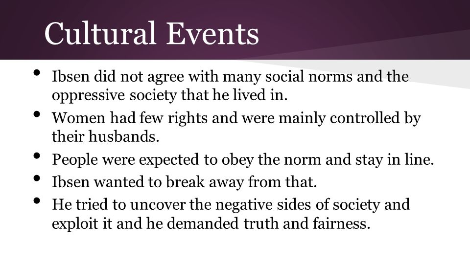 Cultural Events Ibsen did not agree with many social norms and the oppressive society that he lived in.