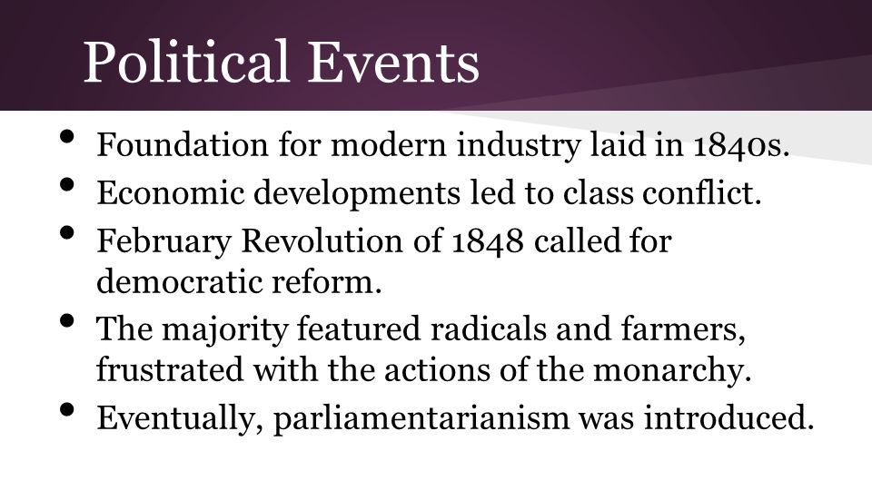 Political Events Foundation for modern industry laid in 1840s.