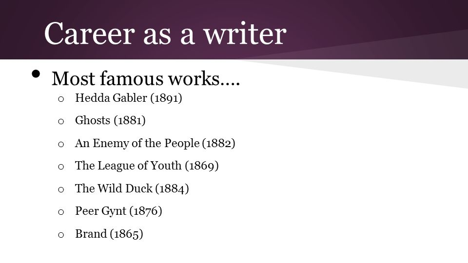 Career as a writer Most famous works…. Hedda Gabler (1891)