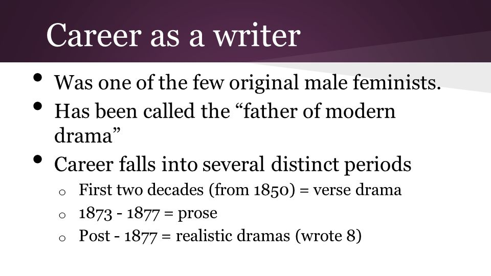 Career as a writer Was one of the few original male feminists.