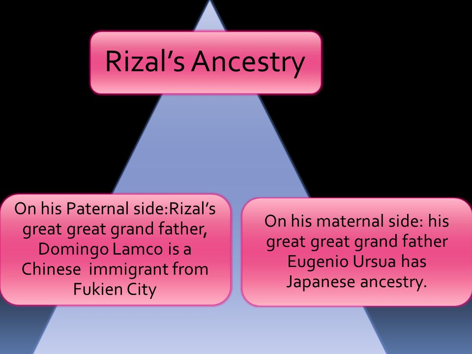 Rizal's Ancestry On his Paternal side:Rizal's great great grand father, Domingo Lamco is a Chinese immigrant from Fukien City.
