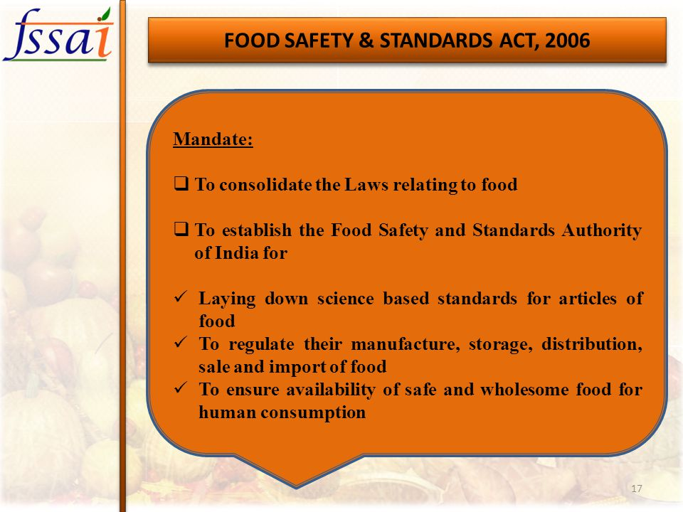 FOOD SAFETY & STANDARDS ACT, 2006