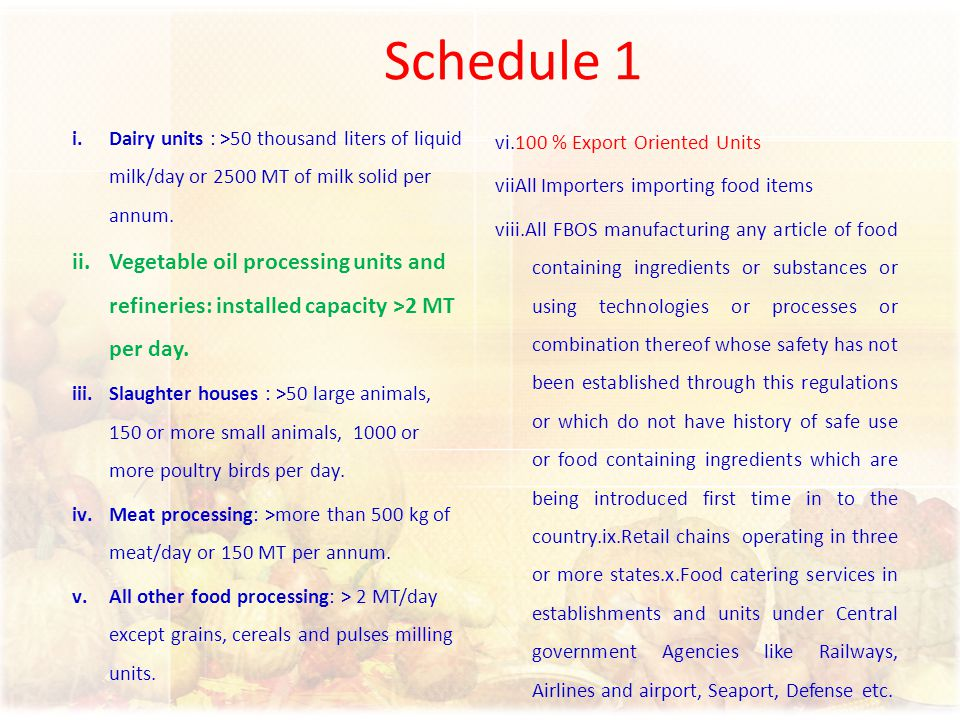 Schedule 1 Dairy units : >50 thousand liters of liquid milk/day or 2500 MT of milk solid per annum.