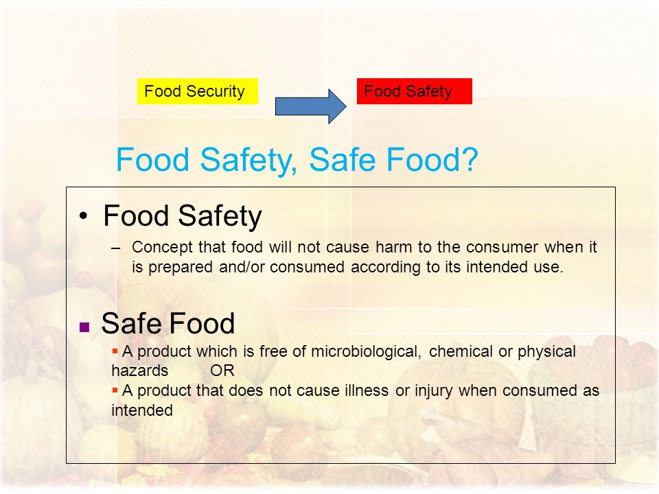 Food Safety, Safe Food Food Safety Food Security Food Safety
