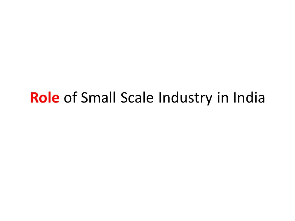 Role of Small Scale Industry in India