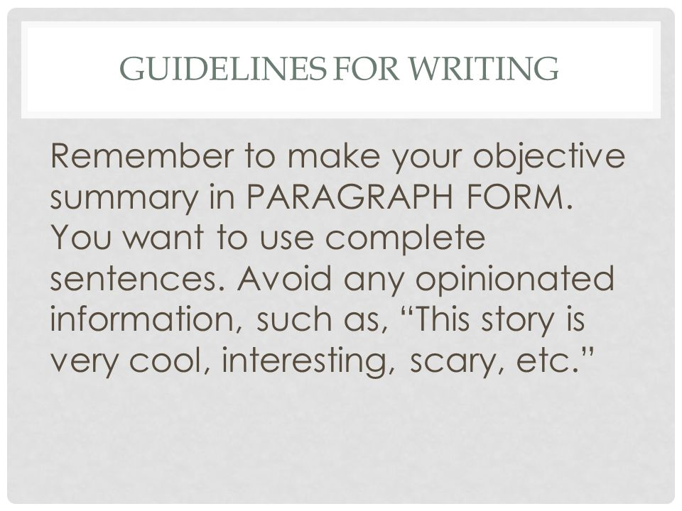 Guidelines for Writing