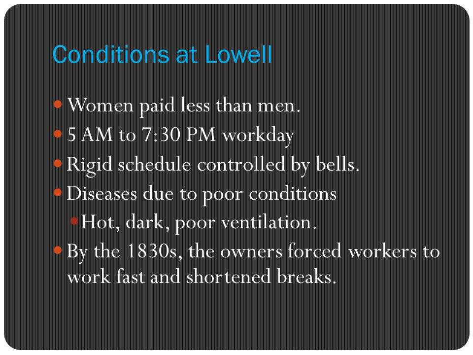 Conditions at Lowell Women paid less than men. 5 AM to 7:30 PM workday