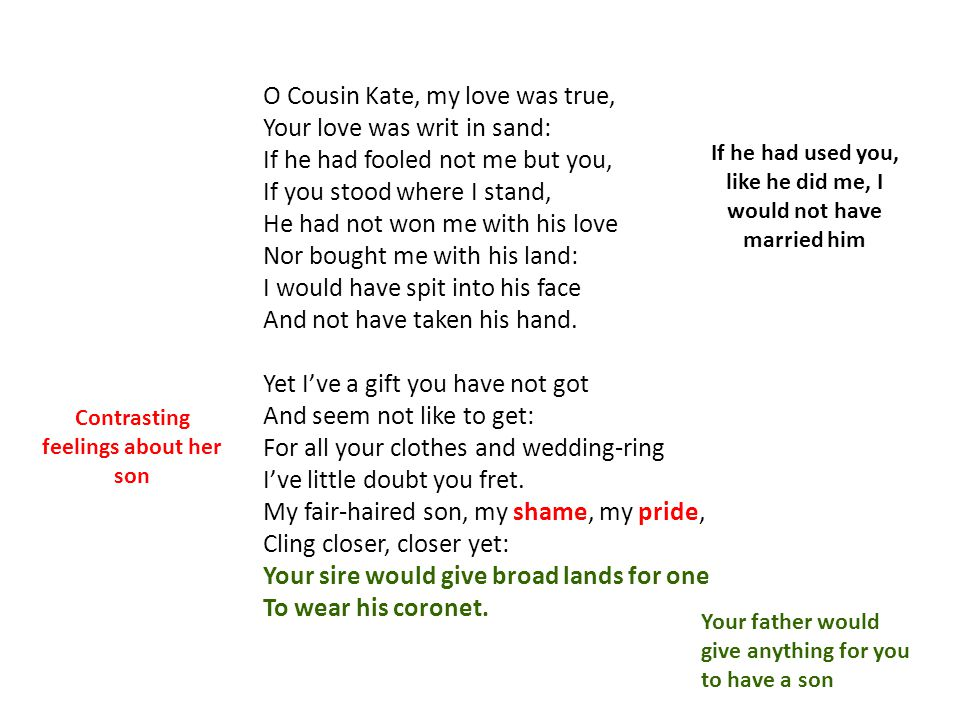 O Cousin Kate, my love was true, Your love was writ in sand: