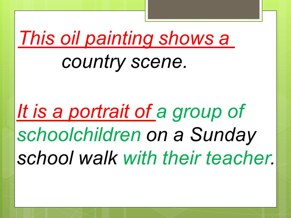 This oil painting shows a
