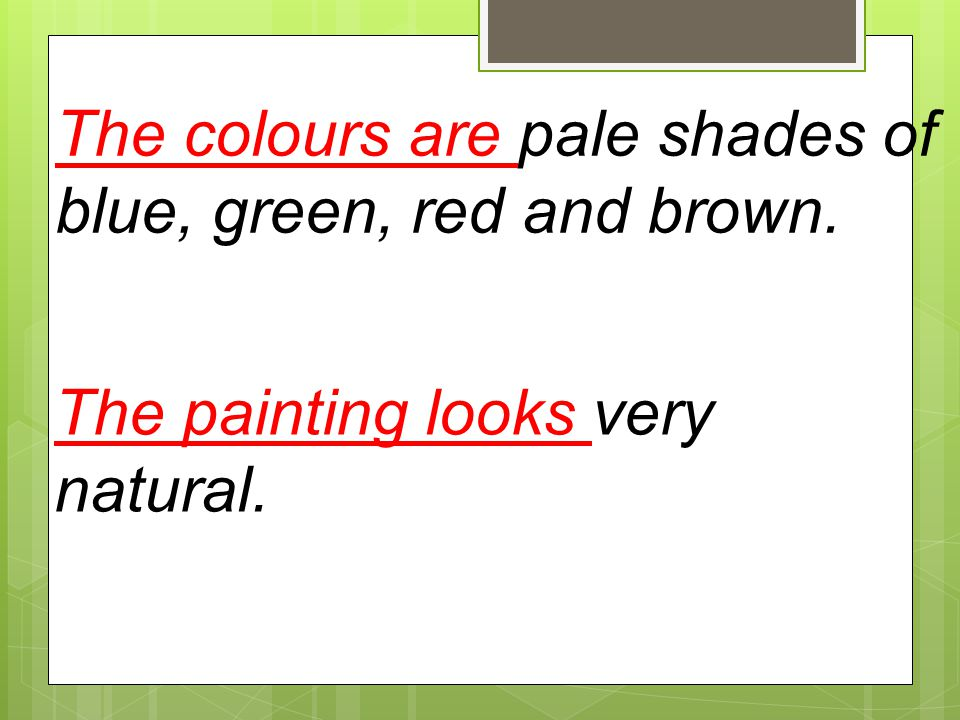The colours are pale shades of blue, green, red and brown.