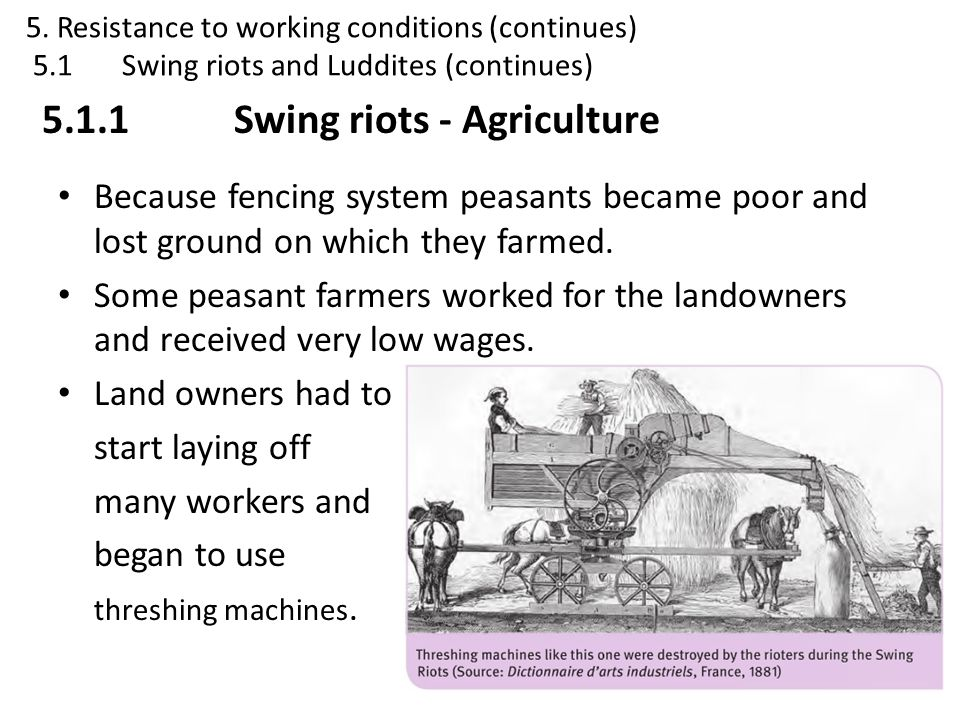 5.1.1 Swing riots - Agriculture