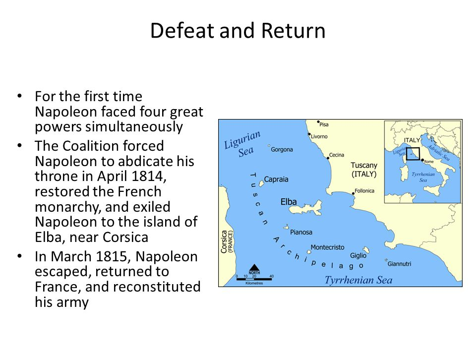 Defeat and Return For the first time Napoleon faced four great powers simultaneously.