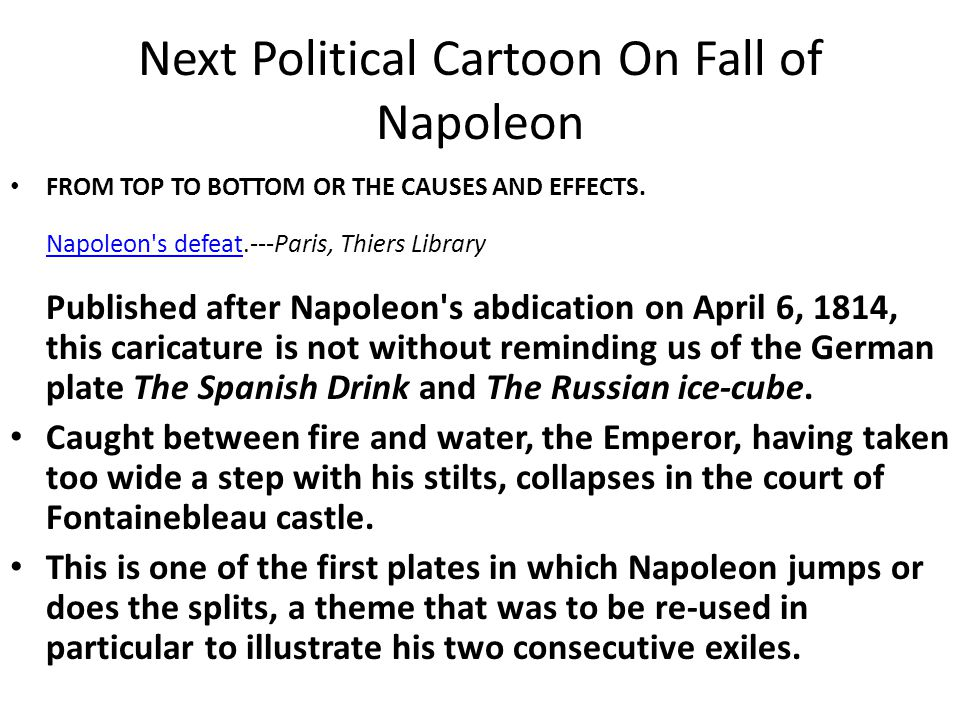 Next Political Cartoon On Fall of Napoleon