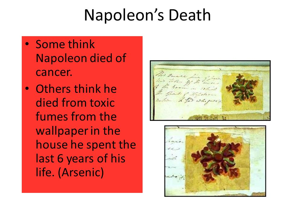 Napoleon's Death Some think Napoleon died of cancer.