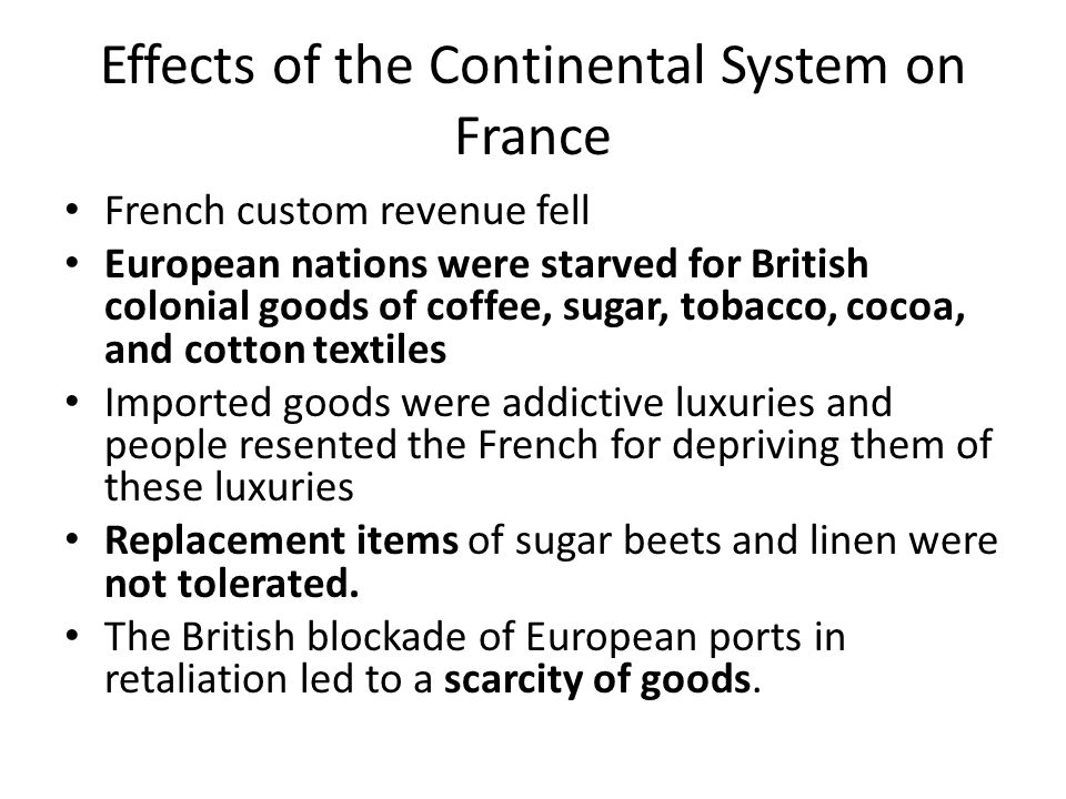 Effects of the Continental System on France