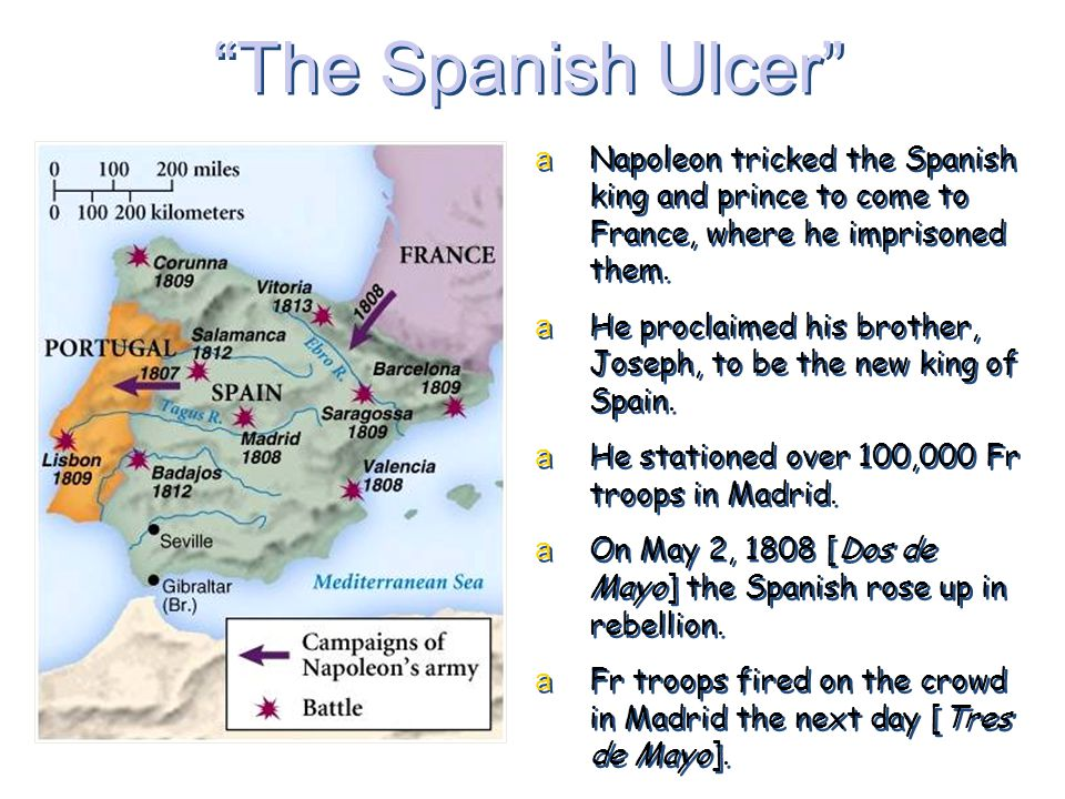 The Spanish Ulcer Napoleon tricked the Spanish king and prince to come to France, where he imprisoned them.