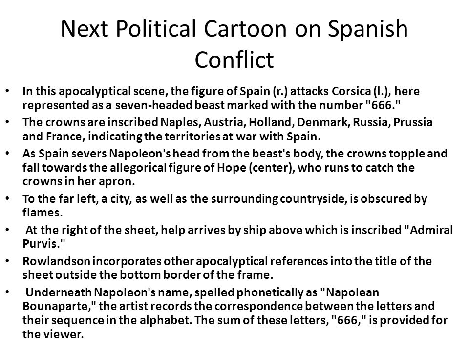 Next Political Cartoon on Spanish Conflict