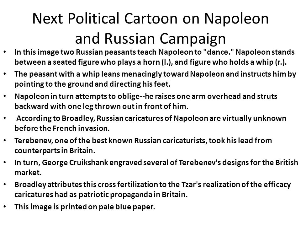 Next Political Cartoon on Napoleon and Russian Campaign