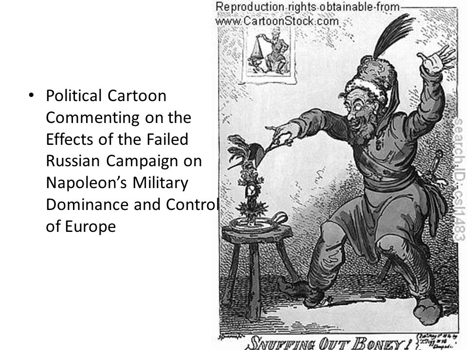 Political Cartoon Commenting on the Effects of the Failed Russian Campaign on Napoleon's Military Dominance and Control of Europe