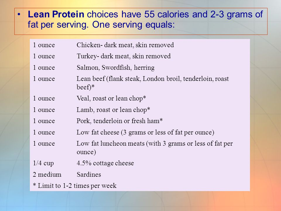 Lean Protein choices have 55 calories and 2-3 grams of fat per serving
