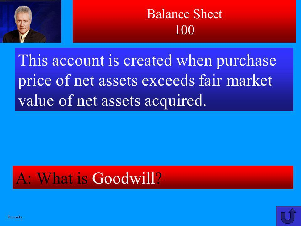 Balance Sheet 100 This account is created when purchase price of net assets exceeds fair market value of net assets acquired.