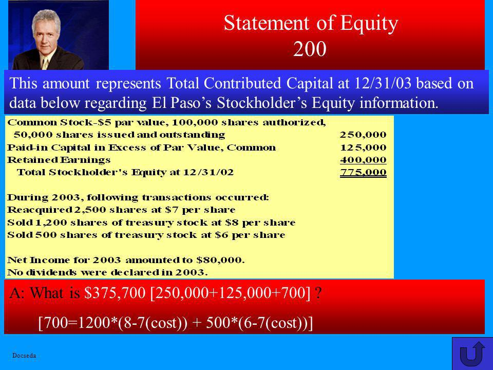 Statement of Equity 200