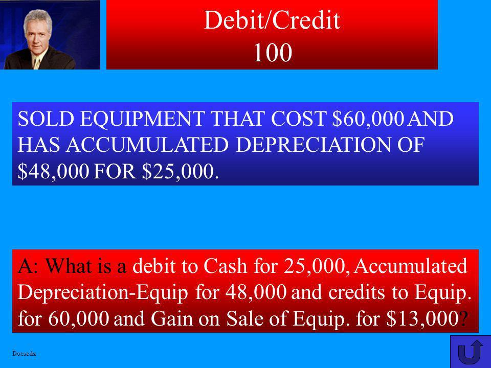 Debit/Credit 100 SOLD EQUIPMENT THAT COST $60,000 AND HAS ACCUMULATED DEPRECIATION OF $48,000 FOR $25,000.