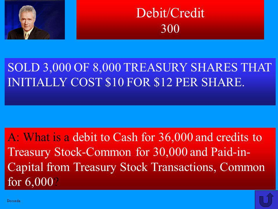Debit/Credit 300 SOLD 3,000 OF 8,000 TREASURY SHARES THAT INITIALLY COST $10 FOR $12 PER SHARE.