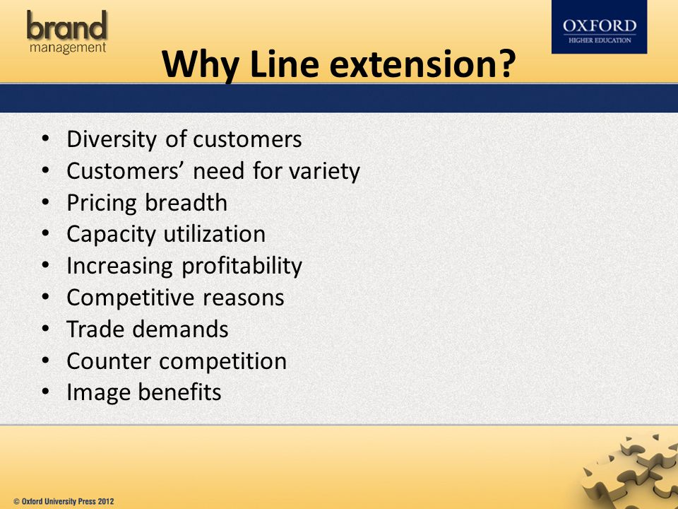 Why Line extension Diversity of customers Customers' need for variety